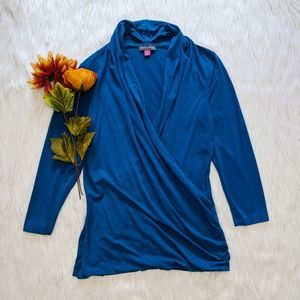 Vince Camuto Blue 3/4 Sleeve Cross Over Top Size S